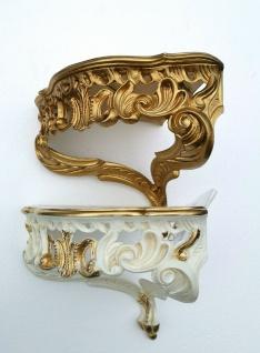 Wandkonsole Eckkonsole barock 28x35 Wandablage Spiegelkonsole Antik Weiß Gold