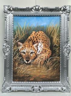 Bild mit Rahmen Silber Leopard 90cm Gerahmte Gemälde Barock Wandbild Wildtiere