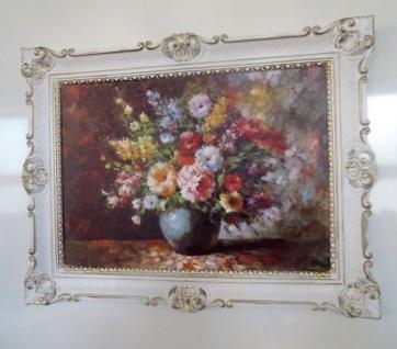 Gerahmte Gemälde Blumen Bilder 90x70 Blumen mit Vase Blau Bild mit Rahmen 01-04 - Vorschau 4
