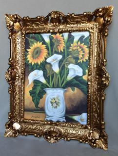 Bild mit Rahmen Gold Sonnenblumen Calla Vase Wandbild 57x47 Gemälde Blumen 09