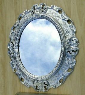 Wandspiegel Silber Oval Barock Antik 45x38 Badspiegel Prunk Rokoko Repro Retro