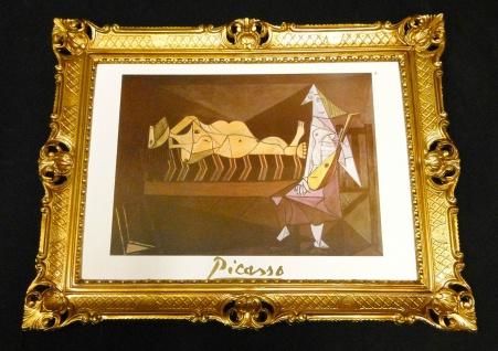 PICASSO Gemälde Bild mit Rahmen Ölbild 90x70 Bilderrahmen BAROCK Antik