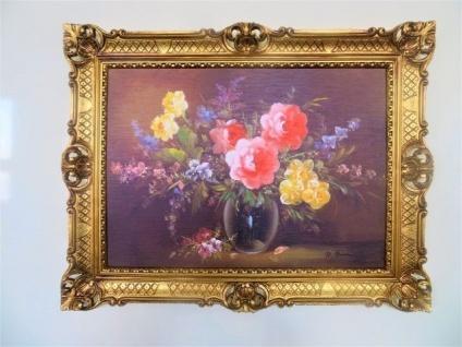 Gemälde Gerahmte Wilde Blumen in Vase Schwarz 90x70 Blumen Bild mit Rahmen 99