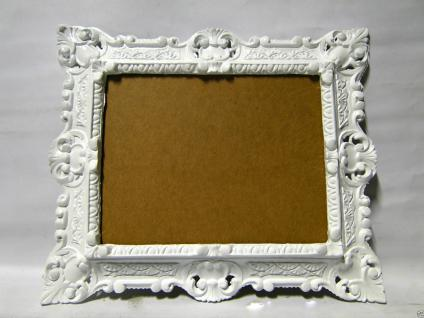 Bilderrahmen Fotorahmen Weiß Barock Rechteckig 45x37 Rahmen Antik mit Rückwand