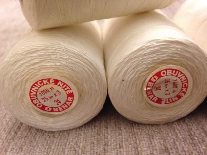 4 x Nähgarn 1000 Meter Polyester/Baumwolle Zelt Nähgarn Weiß 25/3 Reißfest NEU - Vorschau 5
