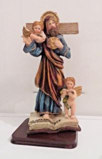 Christliche Heiligenfigur Jesus Kreuz 21 cm Jesus Christus mit Engel sculpture