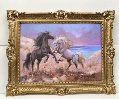 Gerahmte Pferde Bild Gemälde Pferd Bild mit Rahmen 90x70 Wilde Pferde am Strand