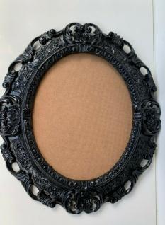 Bilderrahmen Oval Barock Schwarz 45x38 Fotorahmen 24x30cm Bilderrahmen mit Glas