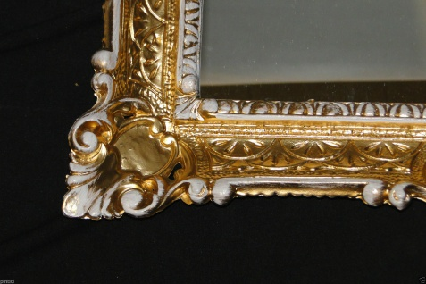 Wandspiegel Gold Weiß Antik Spiegel Barock 57x47 Bad Spiegel Rechteckig '49 - Vorschau 4