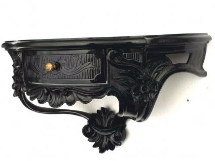 Wandkonsole Schublade/Spiegelkonsole/Wandregal Barock schwarz 50x27 Antik cp84