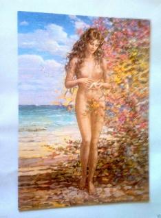 Nackte Frau Akt Frau Am Meer 50x35 Frau Erotik Bild Mit Mdf Platte Seestern - Vorschau 1