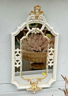 Barock Wandspiegel Elfenbein-Gold Prunk Spiegel Antik Rokoko Badspiegel 59x32 - Vorschau 5