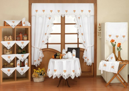 21 teilig Decken Set Garnitur Läufer Serviette Tischdecke Küchen Gardinen SALE