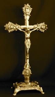 MESSING Kruzifix Kreuz JESUS Christus ALTARFIX ANTIK ALTARKREUZ NEU Standkreuz