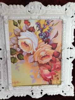 Bild mit Rahmen Rosen Blumen Gemälde Rahmen Weiß Rechteckig 45x38 Barock 3045B