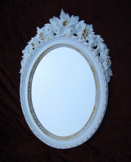 Wandspiegel Oval Weiß-Gold Badspiegel Spiegel Antik 51X37 Shabby Mirror Barock