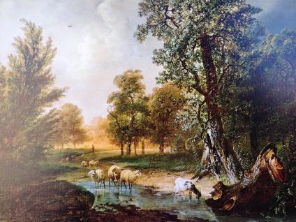 Die Schafe auf dem Feld Schäfer Ziege Tierbild 50x70 Wandbild auf MDF Bild NEU