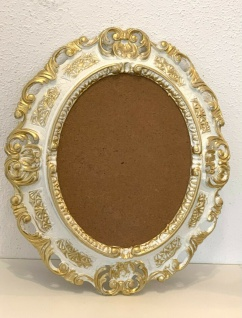 Bilderrahmen Oval Barock Weiß Gold 45x38 Fotorahmen 24x30 cm Bilderrahmen
