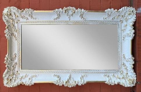 XXL Bilderrahmen Weiß/Gold Barock Gemälderahmen 96x57 Prunk Spiegelrahmen Antik