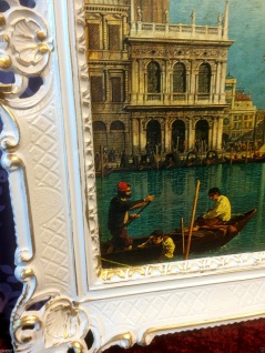 Bild mit Rahmen Weiß-Gold Wandbild NOSTALGIE ITALIEN 90x70 Venedig Bild gondol - Vorschau 4