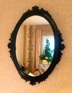 Wandspiegel Schwarz Oval Hochglanz 62x48 Barock Badspiegel Antik Flurspiegel