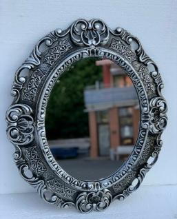 Wandspiegel Schwarz Silber Oval Barock Antik 45x38 Badspiegel Prunk Rokoko Repro