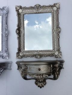 Wandspiegel mit Konsole mit Schublade AntikSilber Spiegelablage 56X46 BAROCK