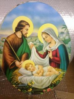 Heilige Bilder Jesus Maria Christliche Bilder Oval 38cmx 48cm auf MDF platte - Vorschau 3