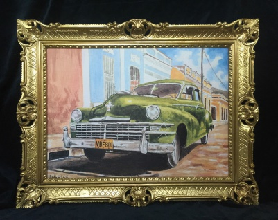 Auto Cuba Grün Bild Rahmen Gold Wandbild 70x90 Oldtimer Classic Cuban Auto