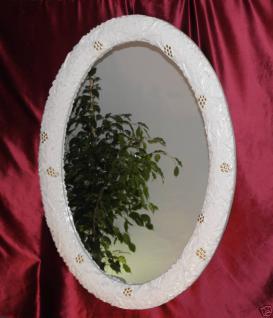Wandspiegel Weiß-Gold XXL Spiegel Oval 120x90 ANTIK großer Spiegel FLURSPIEGEL