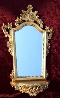 Wandspiegel Barock mit Konsole Gold Spiegel + ablage Antik 78x50 Oval