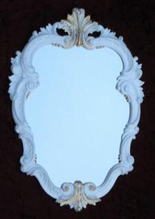 Wandspiegel Barock Weiß-Gold Oval Vintage BadSpiegel Antik 49X33 Rokoko C443
