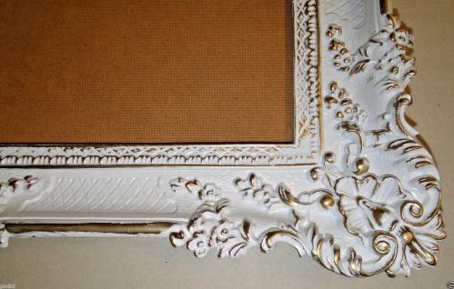 Bilderrahmen Weiß/Gold Barock Gemälderahmen Antik Rokoko 96x57 Rahmen Groß 3074 - Vorschau 4