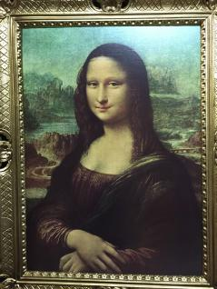 Gemälde Mona Lisa von Leonardo da Vinci barock 90x70 Bild mit Rahmen gold Antik - Vorschau 3