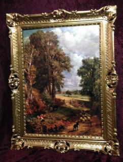Gerahmte Gemälde Gold 90x70 Landschafts Bild DIE SCHÄFER KIND Wandbild
