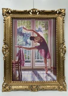 Gemälde Antik Ballerina Ballett Tänzer Bild mit Rahmen Gold 90x70 Rajco Bild