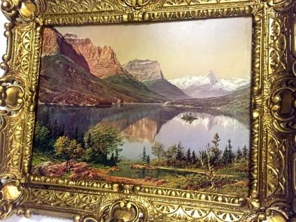 Gerahmte Gemälde Berge See 56X46 Landschaft Bild mit Rahmen Berge Braun See