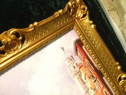 Venedig Brücke Boot Gerahmte Gemälde 90x70 Italien Venezia Venedig Gondel - Vorschau 2