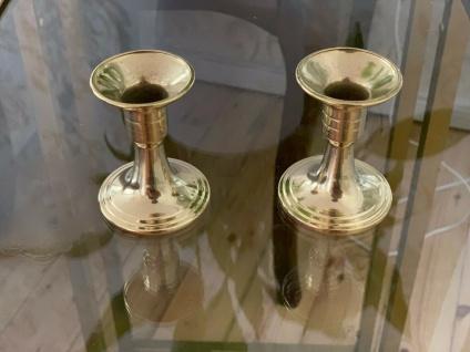 2 x Kerzenleuchter Messing Kerzenständer Gold Kerzenhalter 6, 5cm Tischdekoration - Vorschau 2