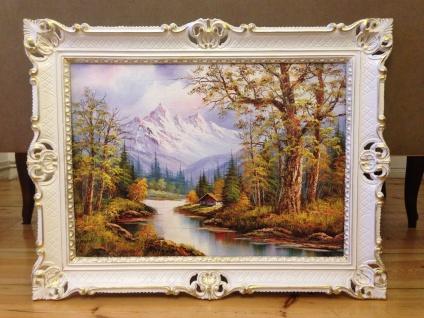 Bild mit Rahmen Landschaften Berge See Wald 90x70cm Kunstdruck Bild Wandbild