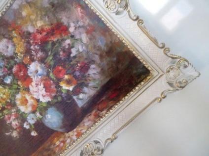 Gerahmte Gemälde Blumen Bilder 90x70 Blumen mit Vase Blau Bild mit Rahmen 01-04 - Vorschau 5