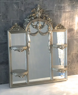 Wandspiegel/Konsole Antik Silber Bad Spiegel mit Ablage Kerzen 63X51 Spiegel