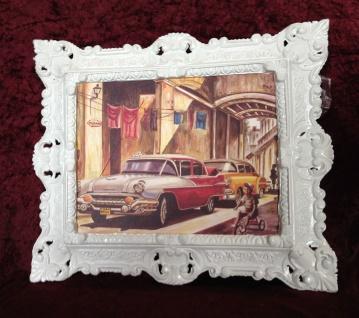 Auto Cuba Rot Bild Rahmen Weiß Wandbild 45x38 Oldtimer Classic Cuban Auto