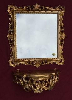 Wandspiegel mit Konsole Barock Gold mit Glas 38x36 Badspiegel Ablage Antik C533 - Vorschau 2
