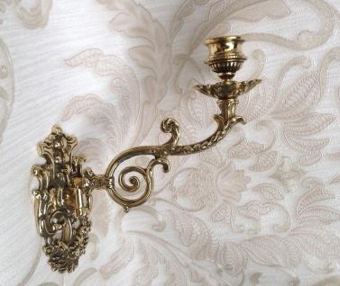 Wandkerzenhalter Barock Jugendstil Messing Gold 23cm Klavier- Wandleuchter