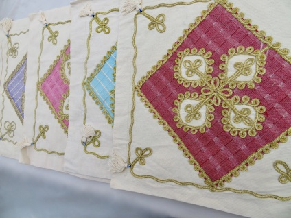Kissenbezug Leinen Baumwolle 47x 47cm ideal für Deko Kissen Vergoldete Spitze