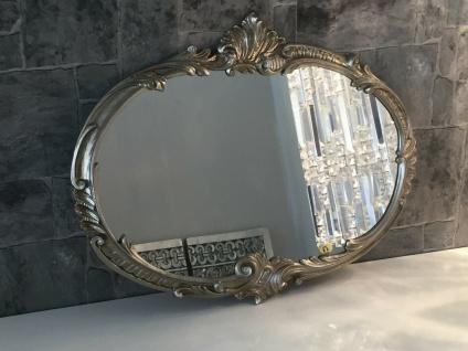 Wandspiegel Barock Oval Antik Silber 52x42 Badspiegel Vintage ovaler Spiegel
