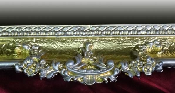Wandspiegel Antik Barock GOLD-Silber Spiegel Repro DEKO 97x57 Groß Ornamente - Vorschau 4