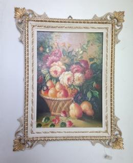 Barock Bild mit Rahmen Weiß-Gold Blumen Antik Gemälde 58x46cm Ausstellungsstück