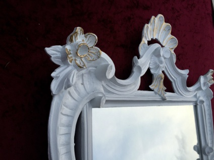 Wandspiegel Weiß-Gold Antik Barock Badspiegel Flur Spiegel 60X57 Jugendstil c494 - Vorschau 5